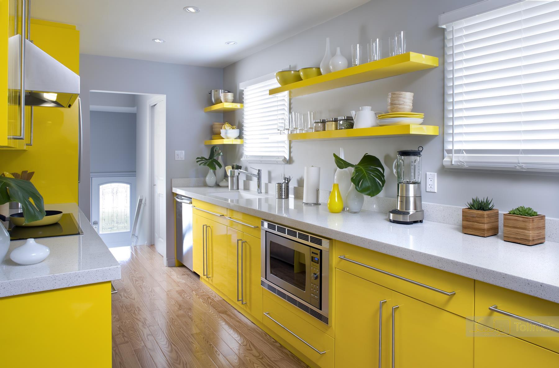 دکوراسیون آشپزخانه با تم زرد