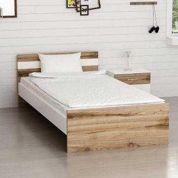 تخت تک نفره نوجوان - سفید و چوبی مدرن به همراه پاتختی