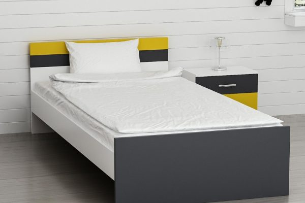 تخت تک نفره رنگ دودی - زرد به همراه پاتختی
