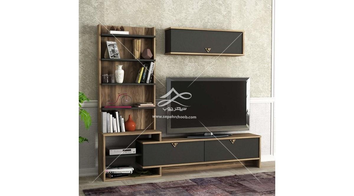 میز تلویزیون مشکی با طرح چوب
