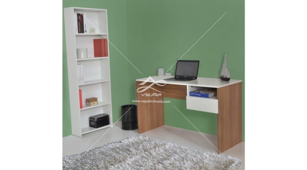 میز تحریر سفید طرح چوب