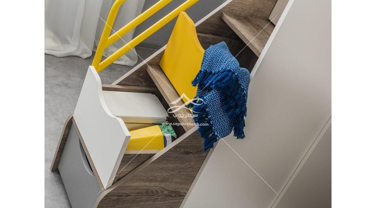 کشو های تخت دو طبقه پسرانه زرد و طوسی
