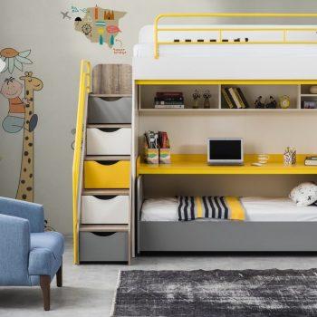 تخت دو طبقه پسرانه با تم طوسی زرد