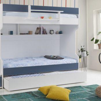 تخت دو طبقه پسرانه با تم آبی کاربنی و سفید