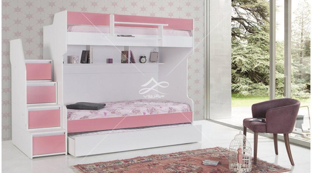 تخت دوطبقه صورتی چوبی