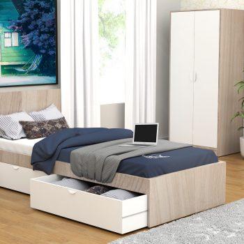تخت تک نفره سفید کرم با کشوی مخفی