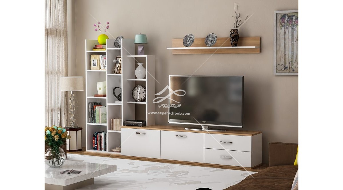 میز تلویزیون زمینی سفید و طرح چوب
