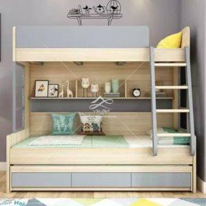 تختخواب دو طبقه طوسی سفید