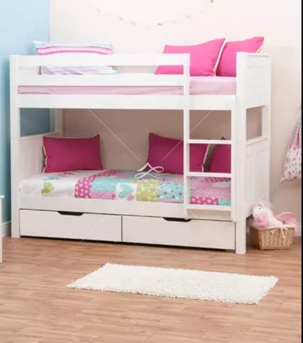 تختخواب دو طبقه سفید صورتی