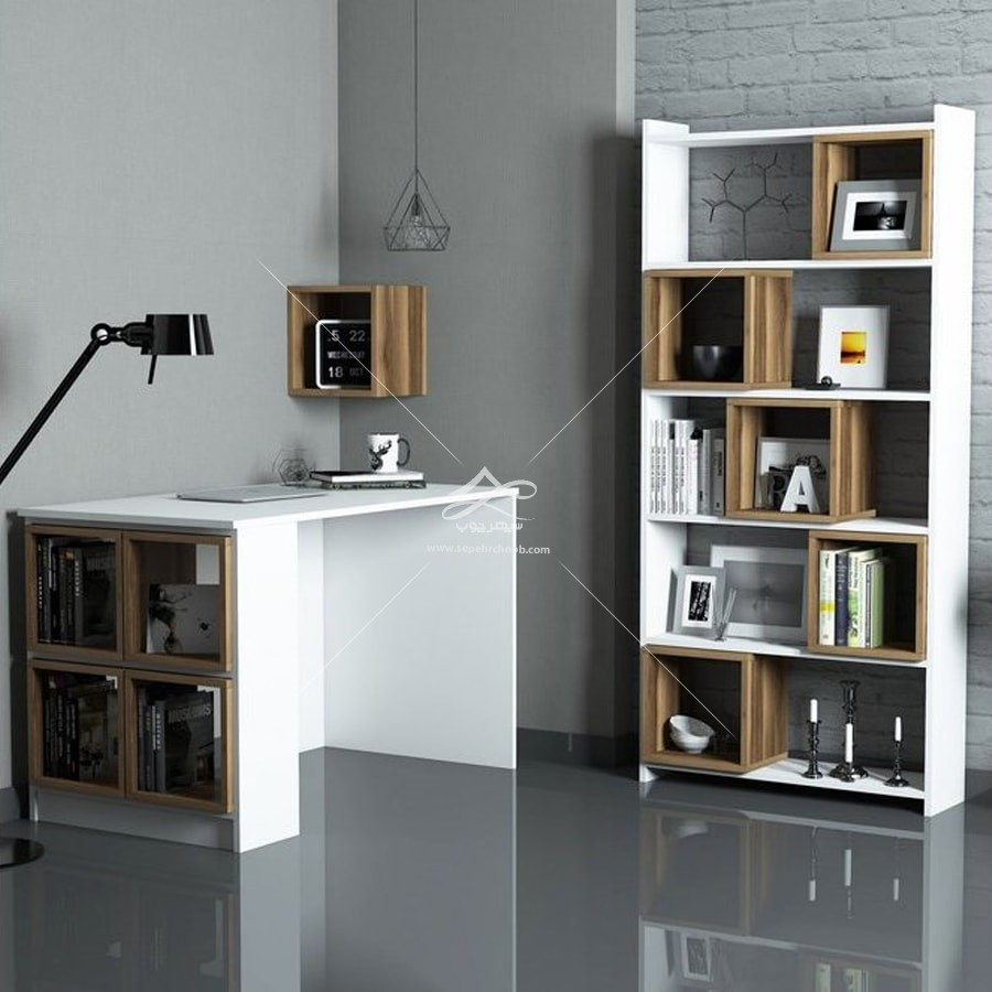 قفسه و کتابخانه و میز تحریر در دکوراسیون اتاق کار خانگی