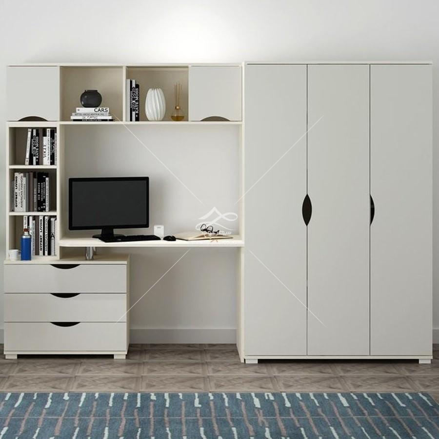 کمد ، قفسه و میز تحریر در اتاق کار خانگی