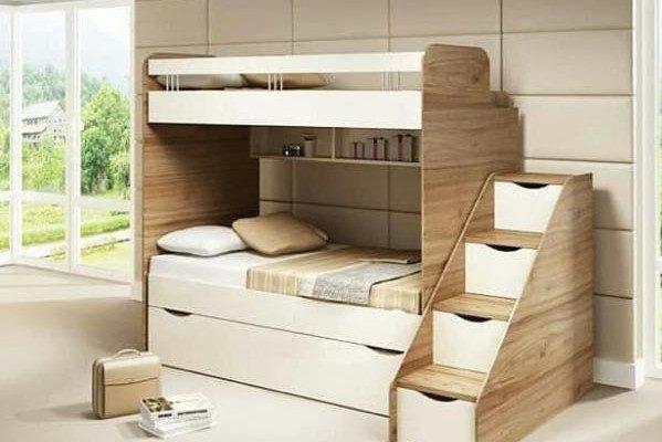 تخت دو طبقه کودک سفید و کرم