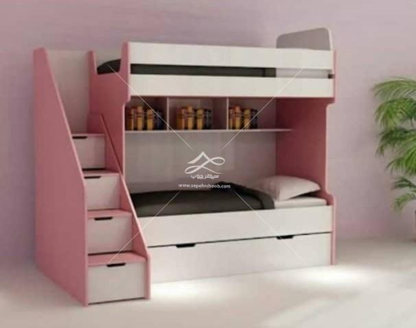 تخت دو طبقه کودک صورتی سفید