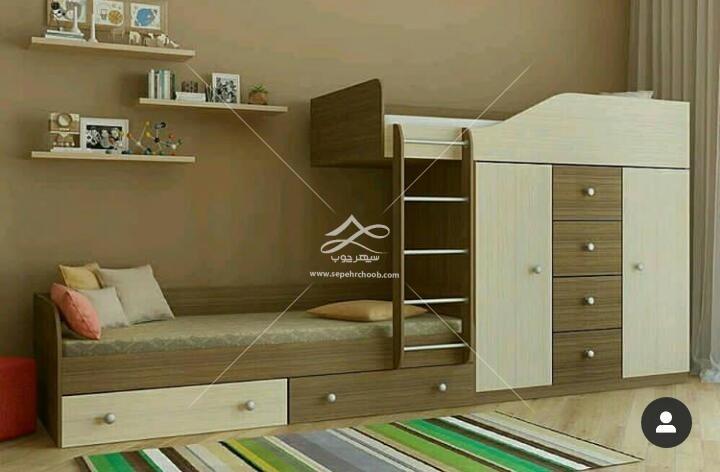 تخت دو طبقه کودک قهوه ای و سفید