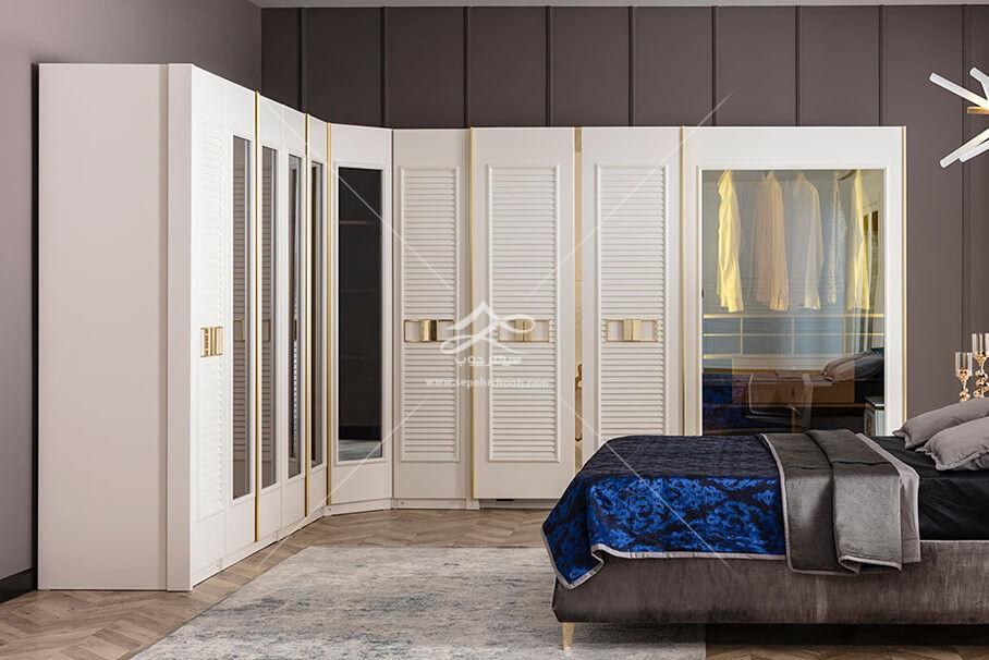 سرویس اتاق خواب چوبی سفید و طلایی