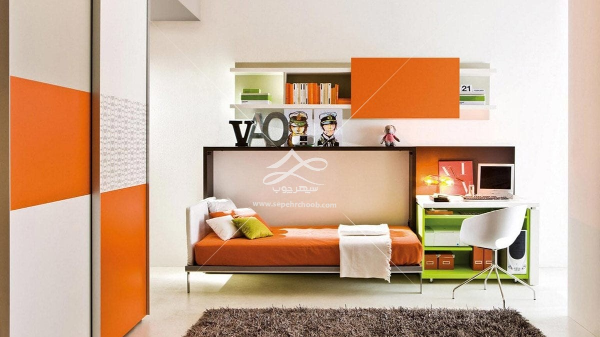 تخت خواب های تاشو سفید نارنجی