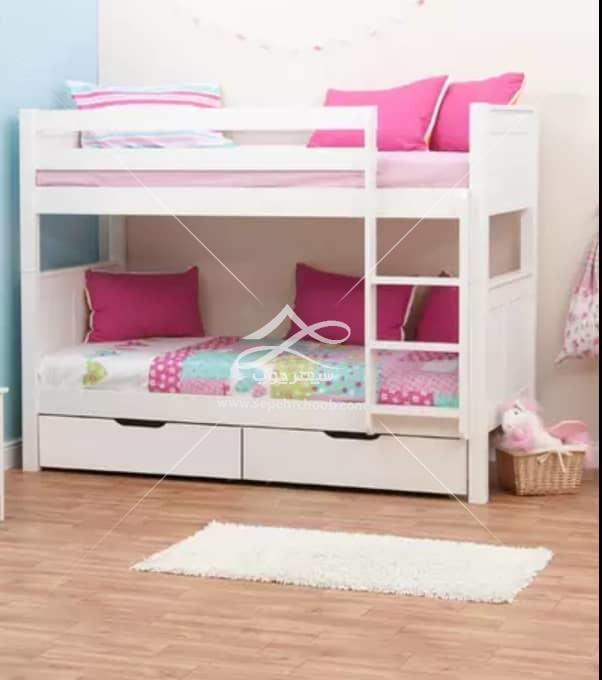 تخت دو طبقه با تم صورتی سفید ساده