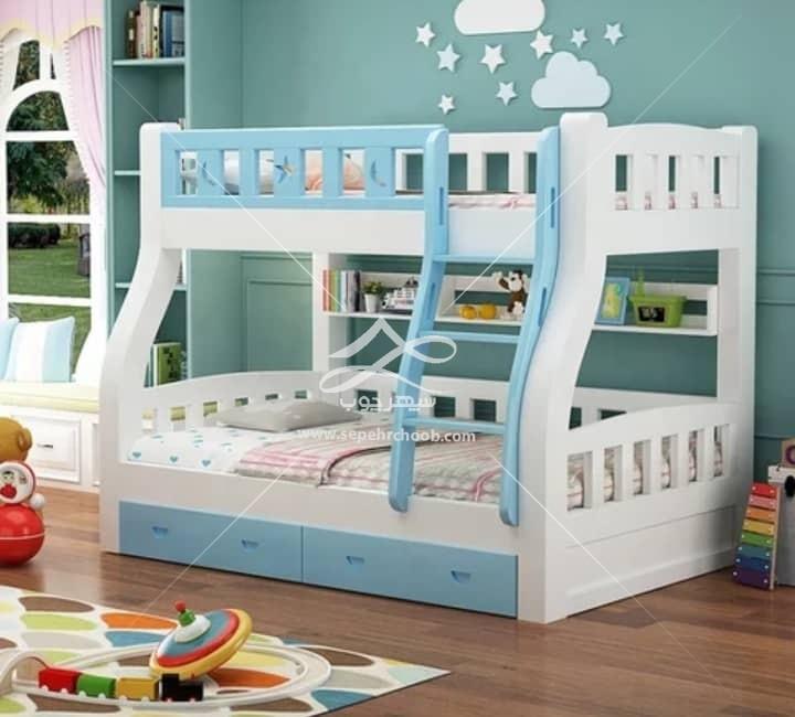 تخت دو طبقه کشودار شیک