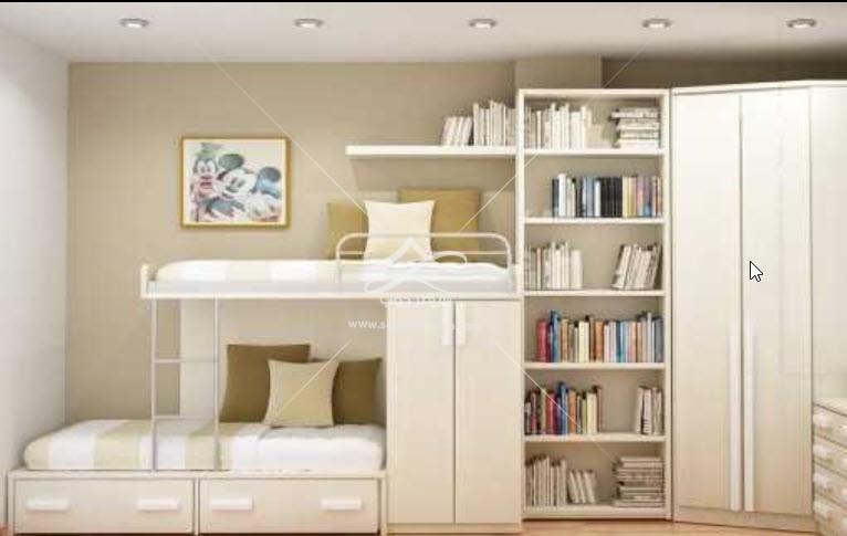 تخت خواب کودک دو طبقه کمد دار