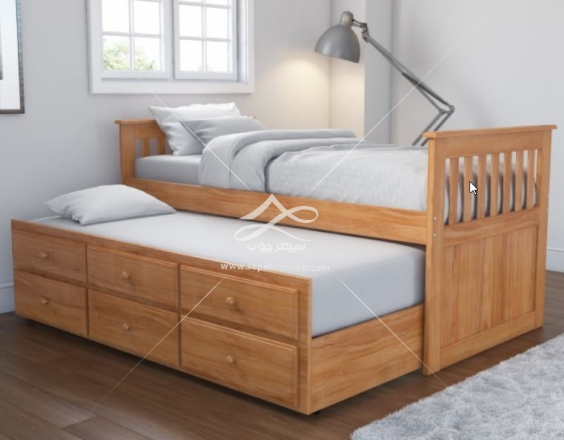 تخت خواب چوبی کشودار کلاسیک