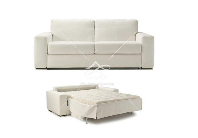 مبل تختخواب شو پارجه ای سفید