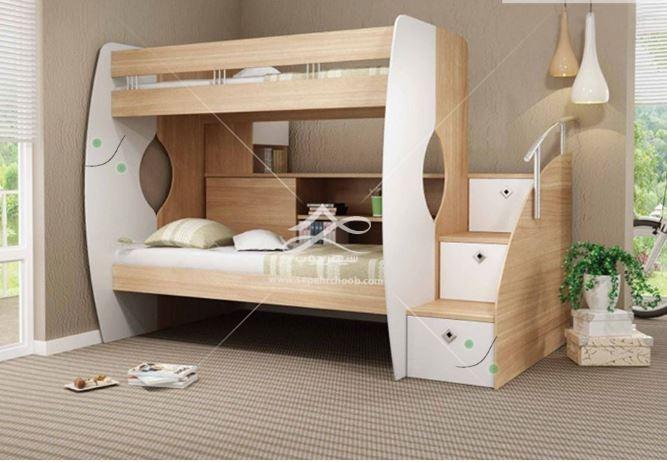 تخت دوطبقه اتاق کودک با تم چوبی سفید