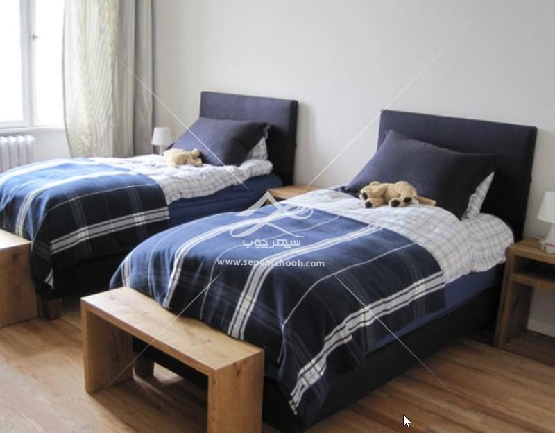 تخت خواب چوبی پسرانه پاتختی دار