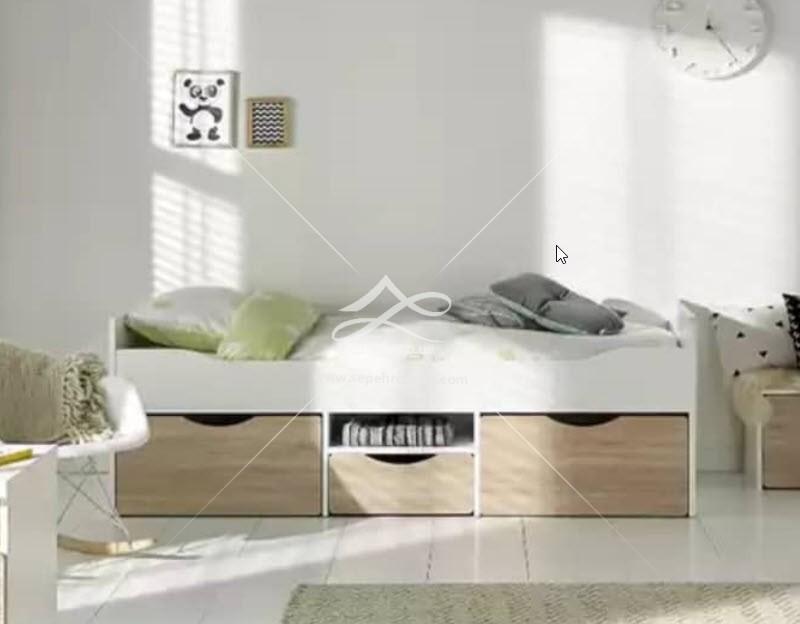تخت تک نفره چوبی سفید شیک