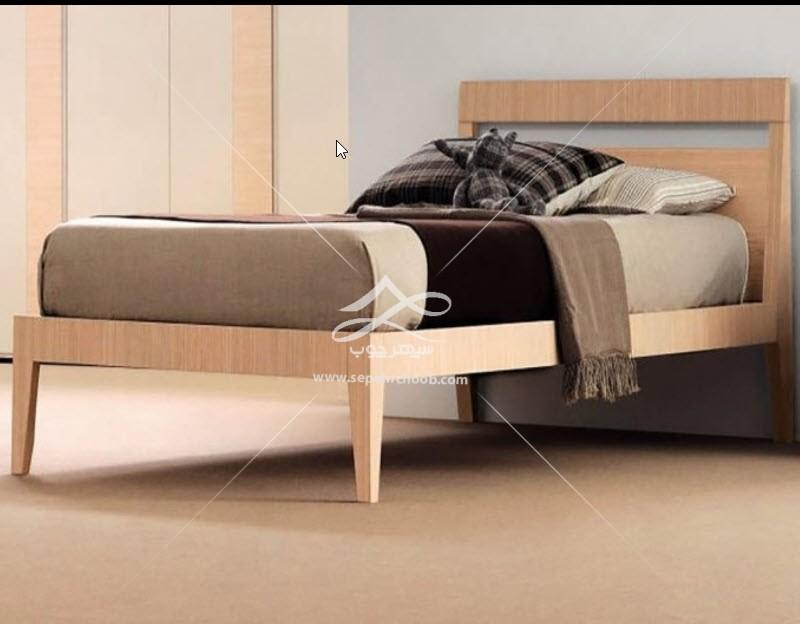 تخت خواب یک نفره چوبی پایه دار