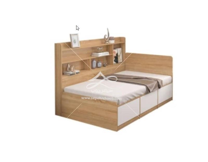 تخت تک نفره چوبی شلف دار