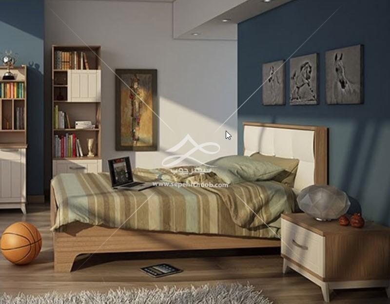 سرویس خواب تک نفره چوبی نوجوان