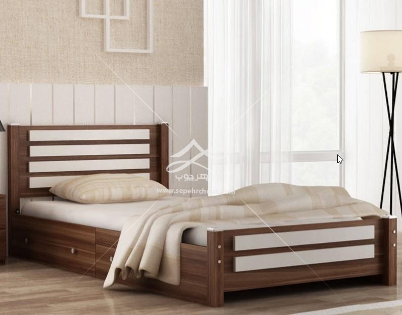 تخت تک نفره چوبی کشودار مدرن